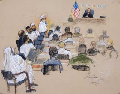 The five defendants in the 9/11 trial at Guantánamo are shown this sketch by courtroom artist Janet Hamlin. They are, from top to bottom, Khalid Sheikh Mohammed, Walid bin Attash, Ramzi bin al-Shibh, Ali Abdul Aziz Ali, and Mustafa al-Hawsawi.