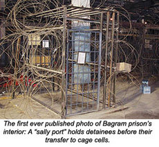 One of the cells in the prison at Bagram airbase
