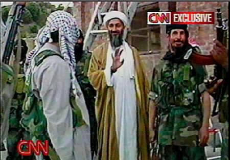 Osama bin Laden and bodyguards