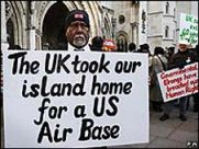 A Chagos Islander protests outside the High Court