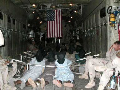 Detainees on one of the first flights to Guantanamo