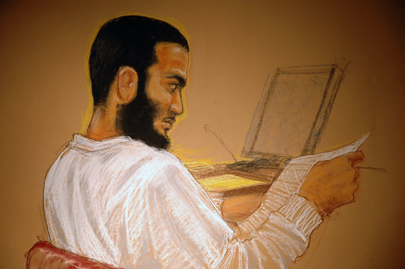 Omar Khadr during a pre-trial hearing in May 2008