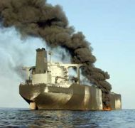 The French tanker Limburg after a terrorist attack in 2002