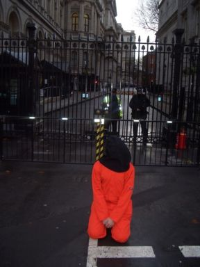 Guantanamo protestor outside Downing Street
