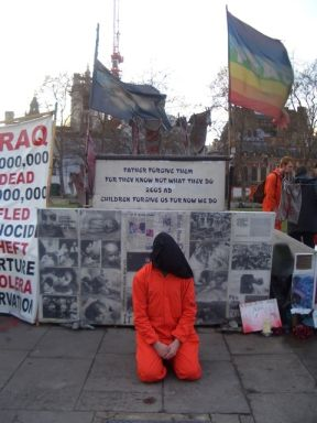 Guantanamo protestor in Parliament Square