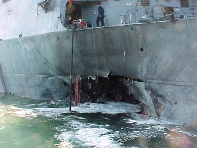 The aftermath of the attack on the USS Cole in 2000
