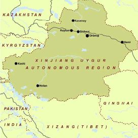 Map of Xinjiang province, China