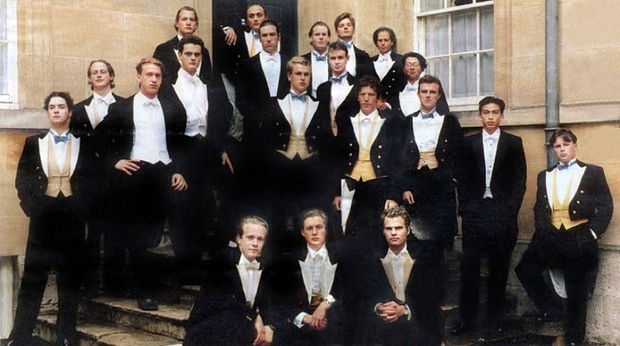 George Osborne (far left) in a photo taken in Oxford in 1992, of the notorious Bullingdon Club, a drinking club for the university's privileged elite.