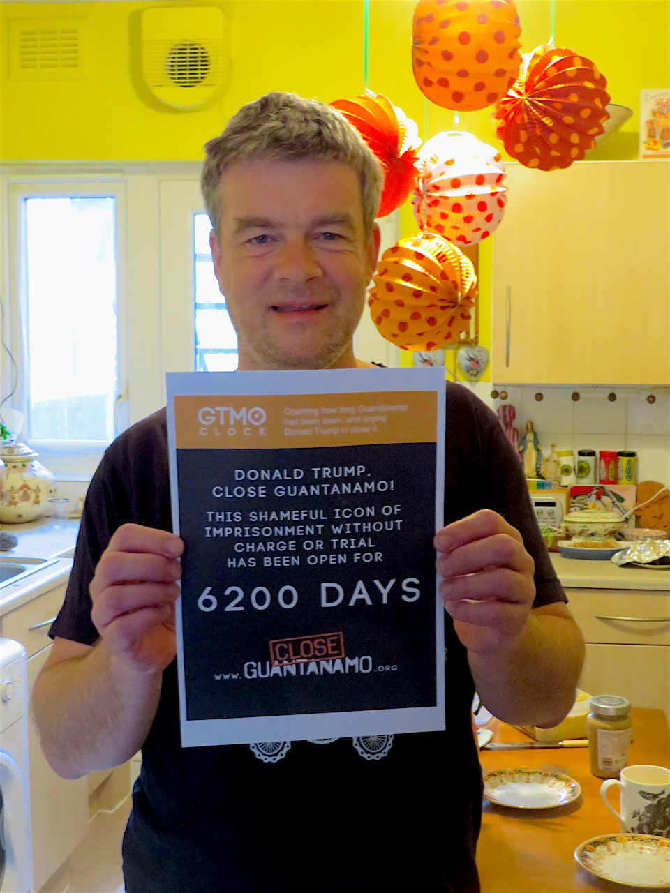 Close Guantanamo co-founder Andy Worthington marks 6,200 days of Guantanamo's existence on January 1, 2019.