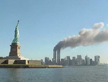 The Statue of Liberty and the twin towers of the World Trade Center on September 11, 2001.