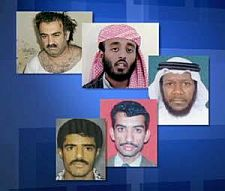 The five men charged in connection with the 9-11 attacks: Khalid Sheikh Mohammed, Ramzi bin al-Shibh, Mustafa al-Hawsawi, Ali Abdul Aziz Ali and Walid bin Attash