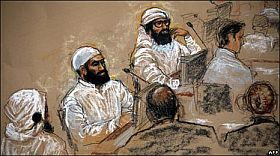 Walid Bin Attash, Ali Abdul Aziz Ali, and Mustafa al Hawsawi at their pre-trial hearing in Guantánamo on July 16, 2009. Courtroom sketch by Janet Hamlin.