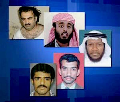 The co-defendants in the painfully slow-moving and contentious 9/11 trial at Guantanamo. From top to bottom: Khalid Sheikh Mohammed, Ramzi bin al-Shibh, Mustafa al-Hawsawi, Ali Abd al-Aziz Ali (aka Ammar al-Baluchi) and Walid bin Attash.