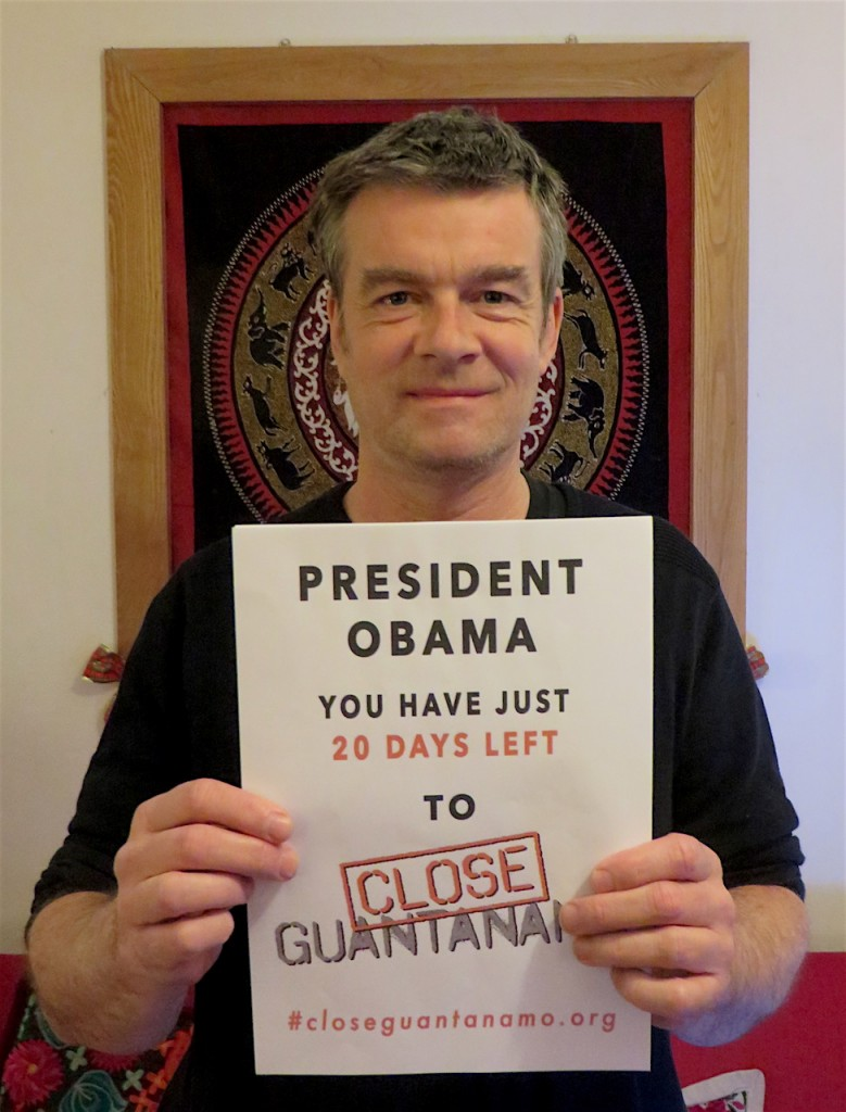 "Andy Worthington marking ""20 days to go"" in the Countdown to Close Guantanamo on Dec. 30, 2016."