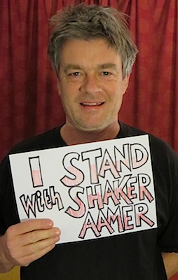 Andy Worthington, in a photo for the We Stand With Shaker campaign.