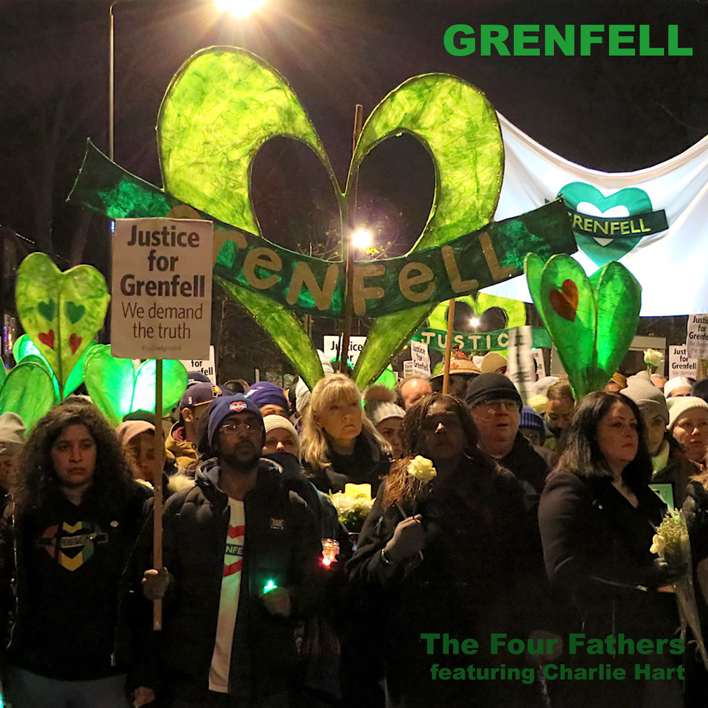The cover of 'Grenfell' by The Four Fathers, featuring a photo taken in North Kensington on December 14, 2017 on one of the Silent Walks that take place on the 14th of every month (Photo: Andy Worthington).