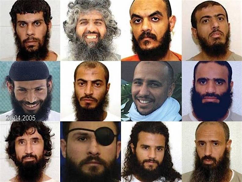 12 of the Guantanamo prisoners put forward for Periodic Review Boards. Top row from left: Mohammed Ghanem (Yemen, approved for release), Haji Hamidullah (Afghanistan, freed), Abdul Rahman Shalabi (Saudi Arabia, freed), Ayyub Ali Salih (Yemen, freed). Middle Row​: Yassin Qasim (Yemen, approved for ongoing imprisonment), Abdu Ali al-Hajj Sharqawi (Yemen, approved for ongoing imprisonment), Mohamedou Ould Slahi (Mauritania, freed), Mansoor al-Zahari aka al-Dayfi (Yemen, freed). Bottom, from left, Ravil Mingazov (Russia, approved for release), Abu Zubaydah (Palestine, not decided yet), Salman Rabei'i (Yemen, approved for ongoing imprisonment), Abdul Latif Nasir (Morocco, approved for release).