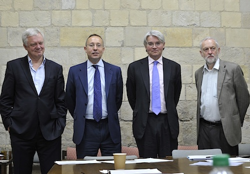 The British Parliamentary delegation, at a briefing yesterday (May 18) prior to their departure for the US, to raise Shaker's case with the U.S. authorities. From L to R: MPs David Davis, Andy Slaughter, Andrew Mitchell and Jeremy Corbyn. (Photo by Stefano Massimo).