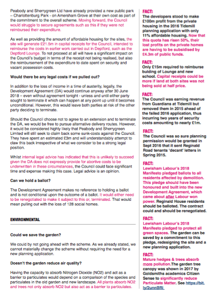 One of the pages from Paul Bell's briefing to Lewisham Council's Mayor and Cabinet in June 2018 regarding the Deptford Southern Sites (Tidemill and Amersham Vale). Annotations by the Save Reginald Save Tidemill campaign.