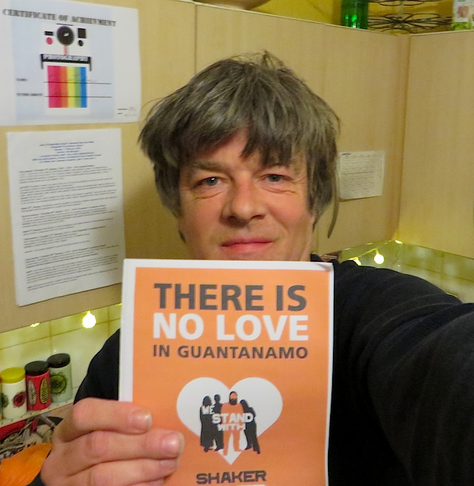 Andy Worthington with the Valentine's Day card made by the We Stand With Shaker campaign to mark the 13th anniversary of Shaker Aamer's arrival at Guantanamo.