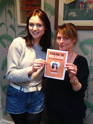 """There is no love in Guantanamo"": Singer Sophie Ellis-Bextor and her mum, actress/presenter Janet Ellis, hold a Valentine's Day card for Shaker Aamer, the last British resident in Guantanamo, to mark the 13th anniversary of his arrival at Guantanamo. Supporters of the We Stand With Shaker campaign have been encouraged to send cards to the US Ambassador to the UK, Matthew Barzun, asking him to ask President Obama to secure Shaker's release."