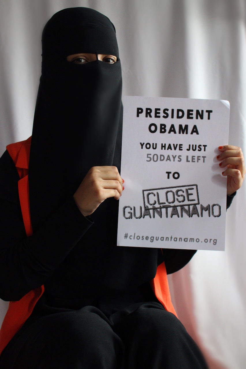 "Sharifa Mashrufa Karima, from a campaign called GuantaNOmo at Madani School for Girls in Whitechapel, east London, says, ""Our campaign is focused on raising awareness about the reality of Guantánamo Bay whilst also working toward freeing at least one innocent detainee."""