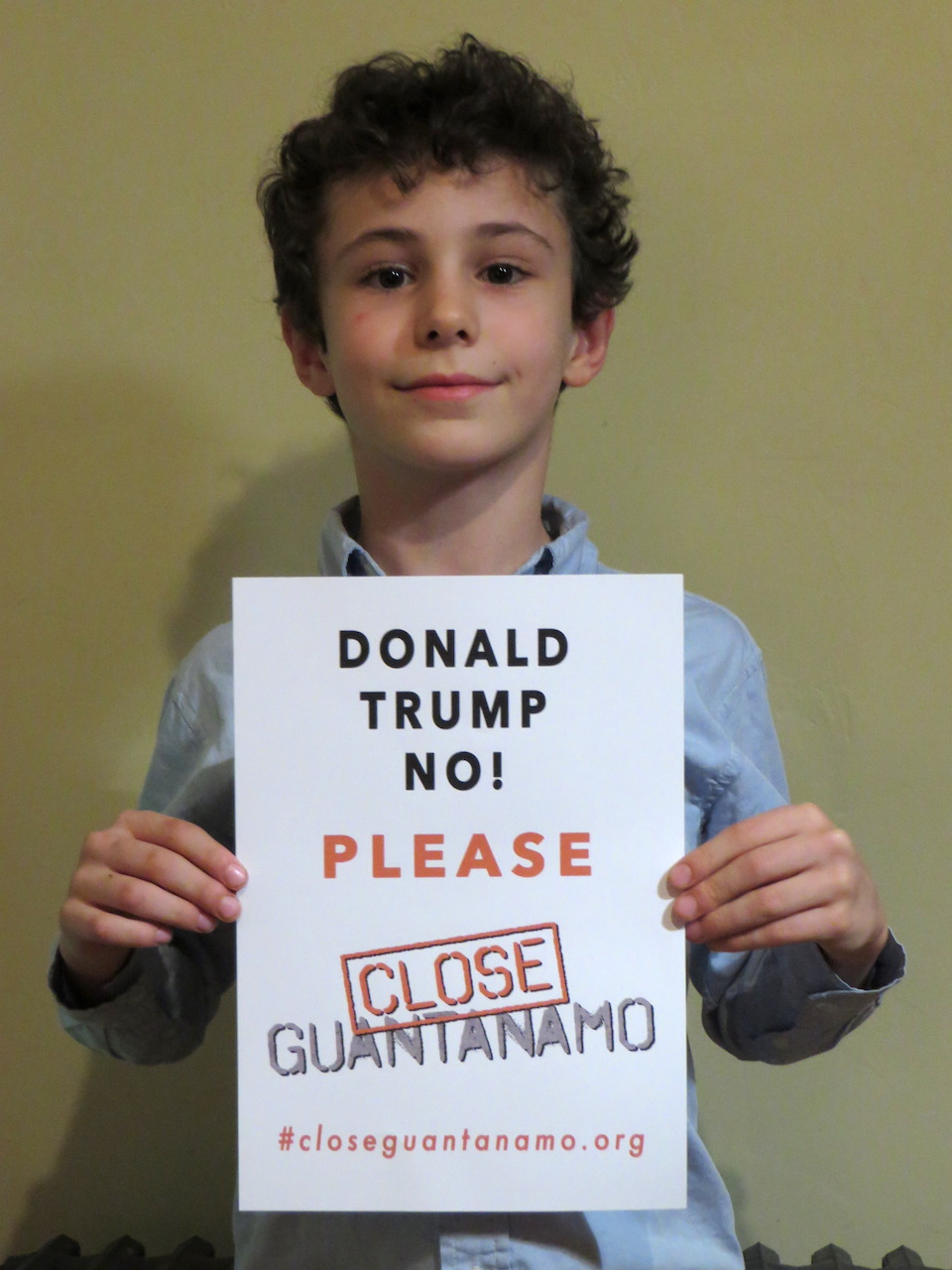 Arlo Varon, the son of Jeremy Varon of Witness Against Torture, calls on Donald Trump to close Guantanamo.