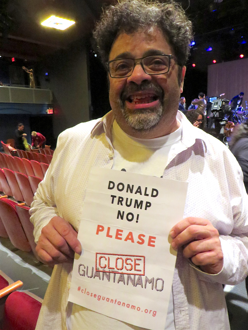Jazz musician Arturo O'Farrill urging Donald Trump to close Guantanamo (Photo: Andy Worthington).