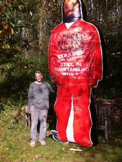 We Stand With Shaker: Clive Stafford Smith, the director of Reprieve, stands with the campaign's giant inflatable figure of Shaker Aamer (Photo: Joanne MacInnes for We Stand With Shaker).