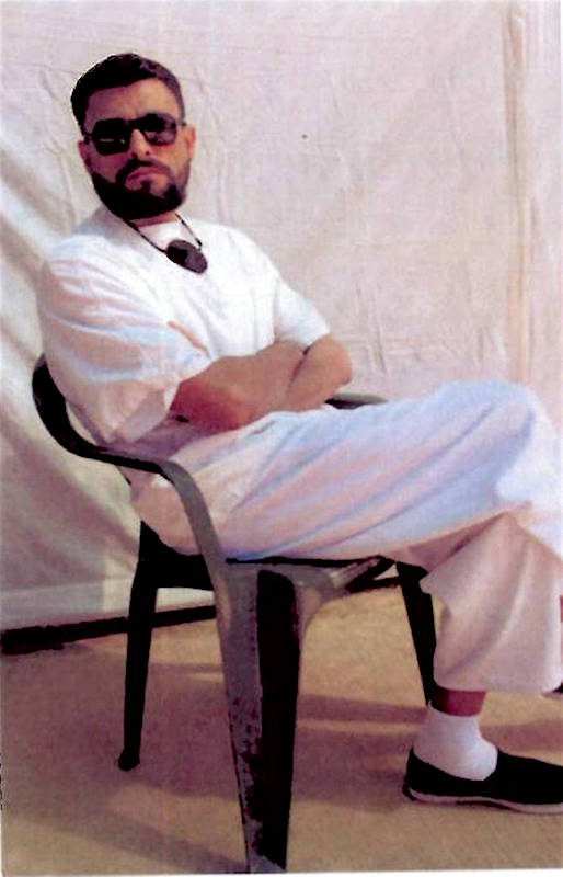Abu Zubaydah at Guantanamo, in a photo taken by representatives of the International Committee of the Red Cross. His lawyer Mark Denbeaux released the photo in May 2017, and stated that it was a recent image.