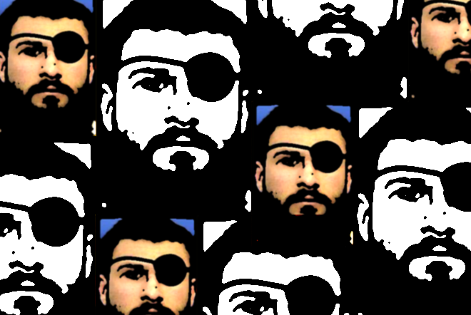Abu Zubaydah: illustration by Brigid Barrett from an article in Wired in July 2013. The photo used is from the classified military files released by WikiLeaks in 2011.