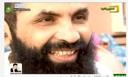 Ahmed Ould Abdel Aziz, in a screenshot from a video taken in Mauritania after his release from Guantanamo after over 13 years of imprisonment without charge or trial.