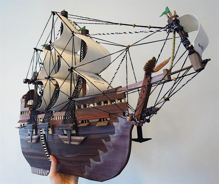 A model of a ship (2015) by Guantanamo prisoner Moath al-Alwi.