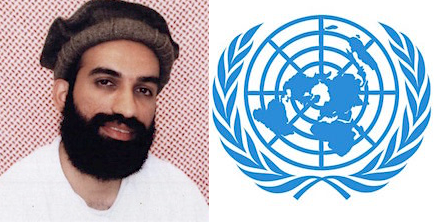 Guantanamo prisoner Ammar al-Baluchi photographed at Guantanamo, and the logo of the United Nations.