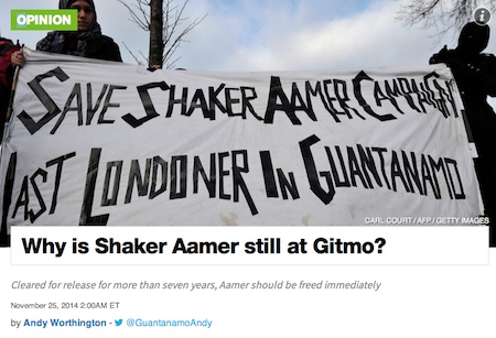 "The header for my first article for Al-Jazeera America,  ""Why is Shaker Aamer still at Gitmo?"" published on November 25, 2014."