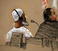 Ibrahim al-Qosi at a pre-trial Military Commission hearing at Guantanamo, July 15, 2009 (sketch by court artist Janet Hamlin)