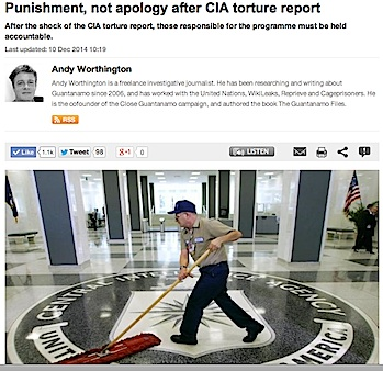 A screenshot of Andy Worthington's Al-Jazeera article about the CIA torture program, published on December 10, 2014.