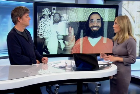 A screenshot of Andy Worthington appearing with Joanna Gosling on the Victoria Derbyshire show on BBC2 on October 13, 2015, discussing Shaker Aamer and the Fast For Shaker launching on October 15.