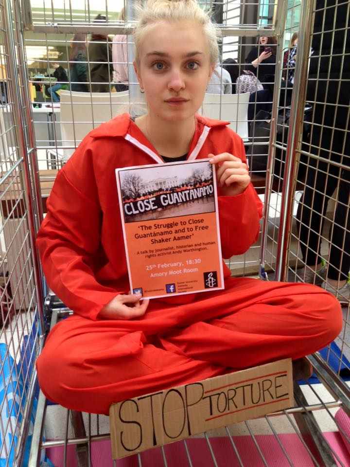 Exeter University student Ellen Boivin promoting Andy Worthington's talk about Guantanamo and Shaker Aamer on February 25, 2016.