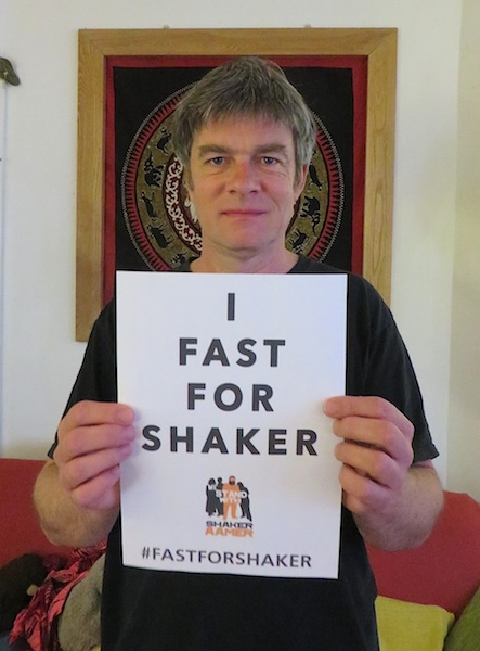 Andy Worthington pledging support for the new Fast For Shaker campaign.