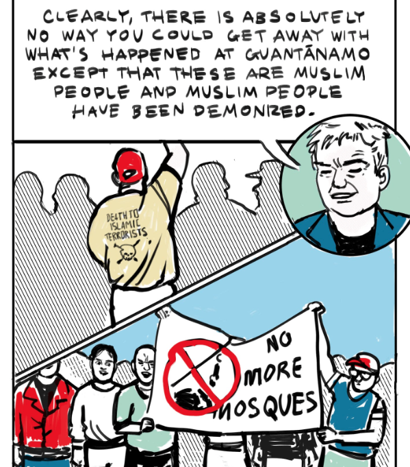 A panel from the comic 'Guantanamo Bay is Still Open. Still. STILL!' by Jess Parker and Sarah Mirk, featuring Andy Worthington.