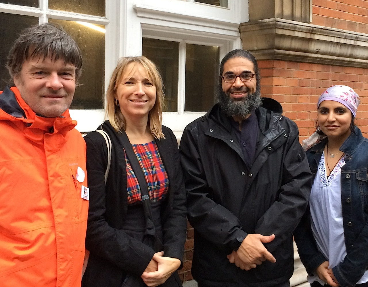 Andy Worthington, Joanne MacInnes, Shaker Aamer and doctor and journalist Saleyha Ahsan on November 17, 2015, after Shaker had met supporters and MPs in the Houses of Parliament.