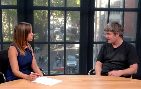 A screenshot of Andy Worthington appearing on London Live with Reya El-Salahi to discuss the launch of the Fast For Shaker campaign on October 14, 2015.