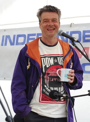 Andy Worthington at the Independence from America protest organised by the Campaign for the Accountability of American Bases (CAAB) at RAF Menwith Hill on July 4, 2013.
