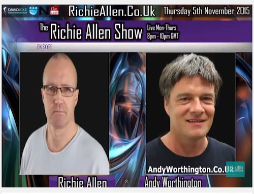 A screenshot of Richie Allen's video for his interview with Andy Worthington on November 5, 2015.