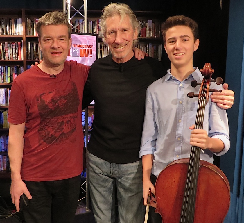 Andy Worthington with Roger Waters and cellist Alexander Rohatyn on Democracy Now! in January 2016.