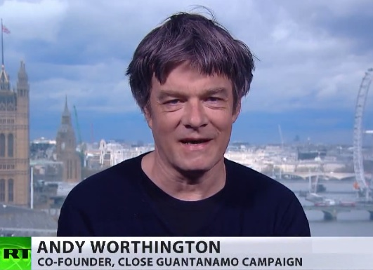 A screenshot of Andy Worthington discussing the Gitmo Clock and Obama's chances of closing Guantanamo before he leaves office on RT on April 25, 2016.