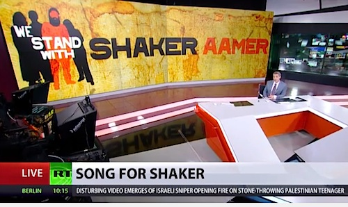 RT's coverage of Shaker Aamer's story and the release of Andy Worthington's band The Four Fathers' 'Song for Shaker Aamer' on September 21, 2015.