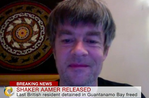A screenshot of Andy Worthington speaking by Skype to Joanna Gosling on the Victoria Derbyshire Show on BBC2 on October 30, 2015, the day Shaker Aamer was finally released from Guantanamo.