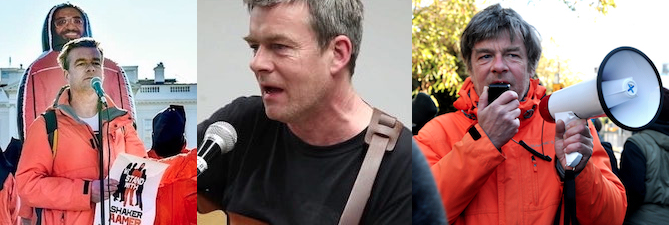 Three photos of Andy Worthington, as an anti-Guantanamo campaigner, singer-songwriter and housing activist.